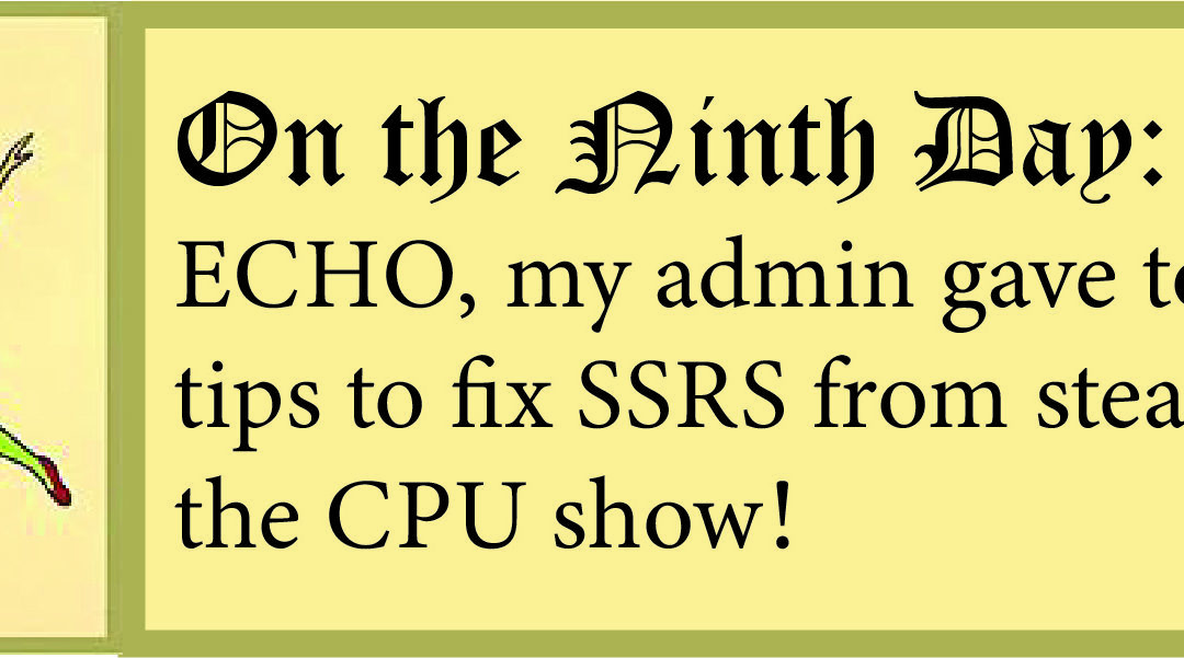 12 Days of ECHO, Ninth Day: My Admin Gave to Me, Fixes so SSRS Won't Hog Epicor CPU!