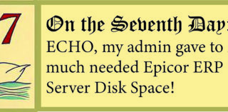 12 Days of ECHO, Seventh Day: My Admin Gave to Me, Tips on Epicor ERP 10 Server Disk Space!