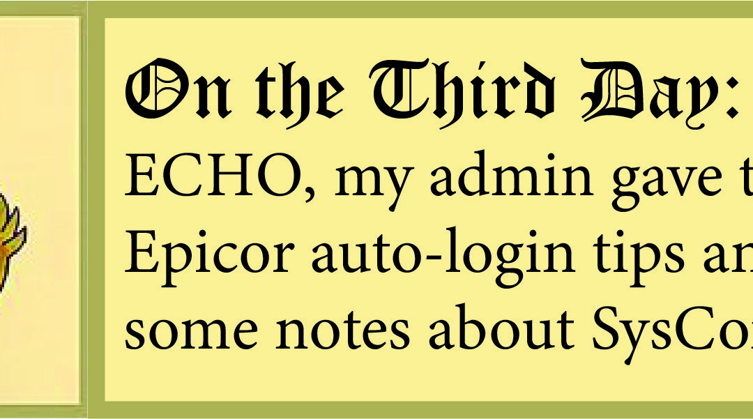 12 Days of ECHO, Third Day: Some Notes on Epicor ERP Auto-Login and SysConfig!