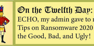 12 Days of ECHO, Twelfth Day: My Admin Gave to Me, Ransomware 2020 the Good, Bad, and Ugly