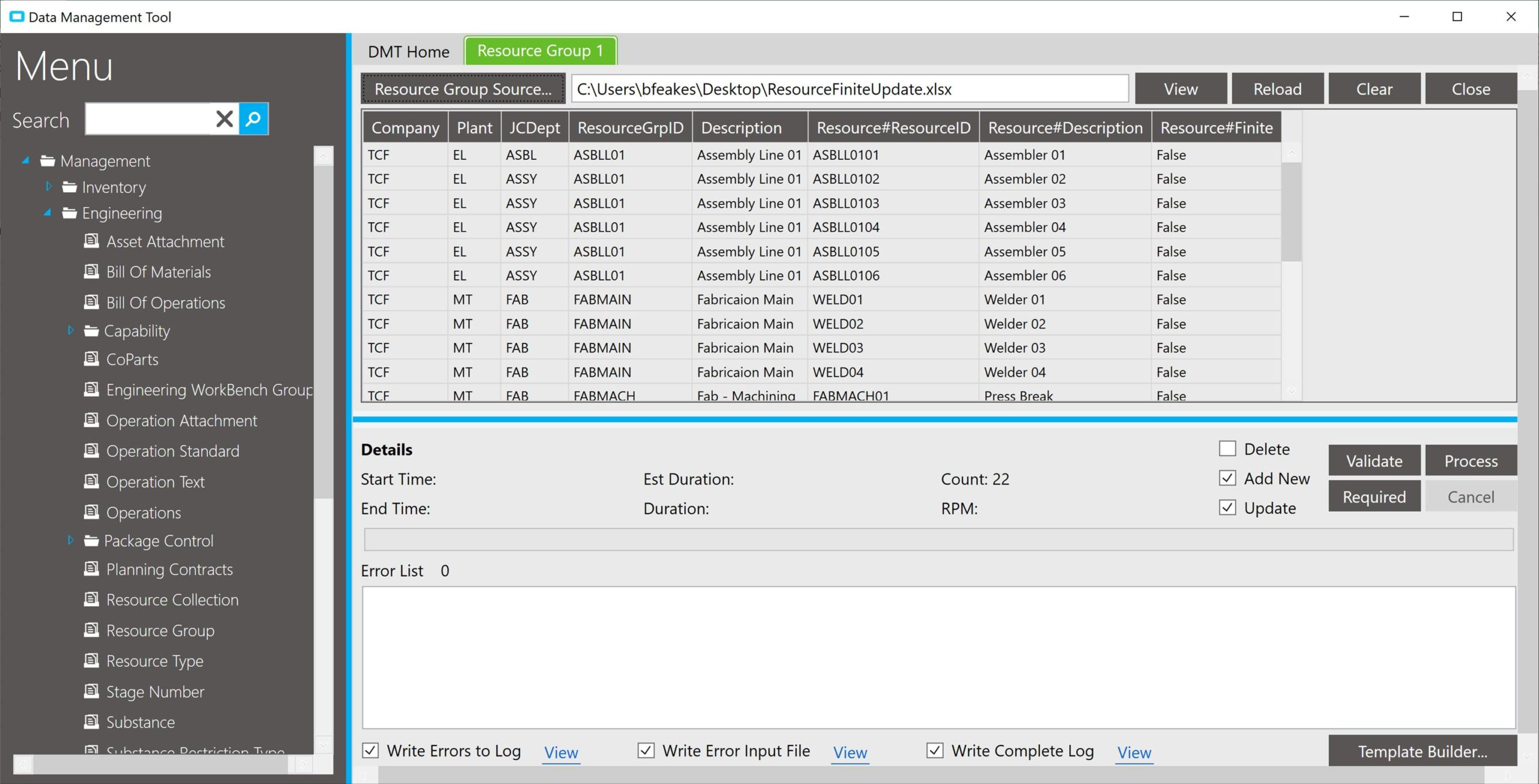 Multiple Table Updates in Epicor DMT Resource Group Finite Update