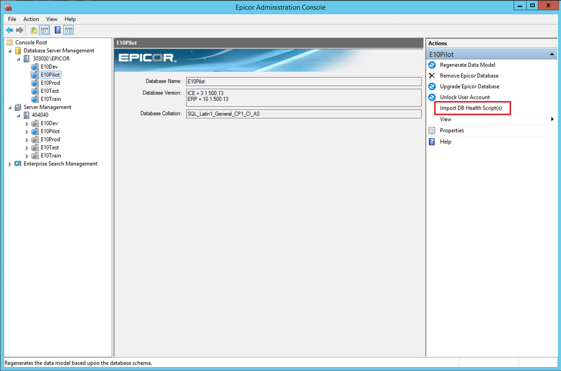 Epicor Data Fix Screenshot DB Health