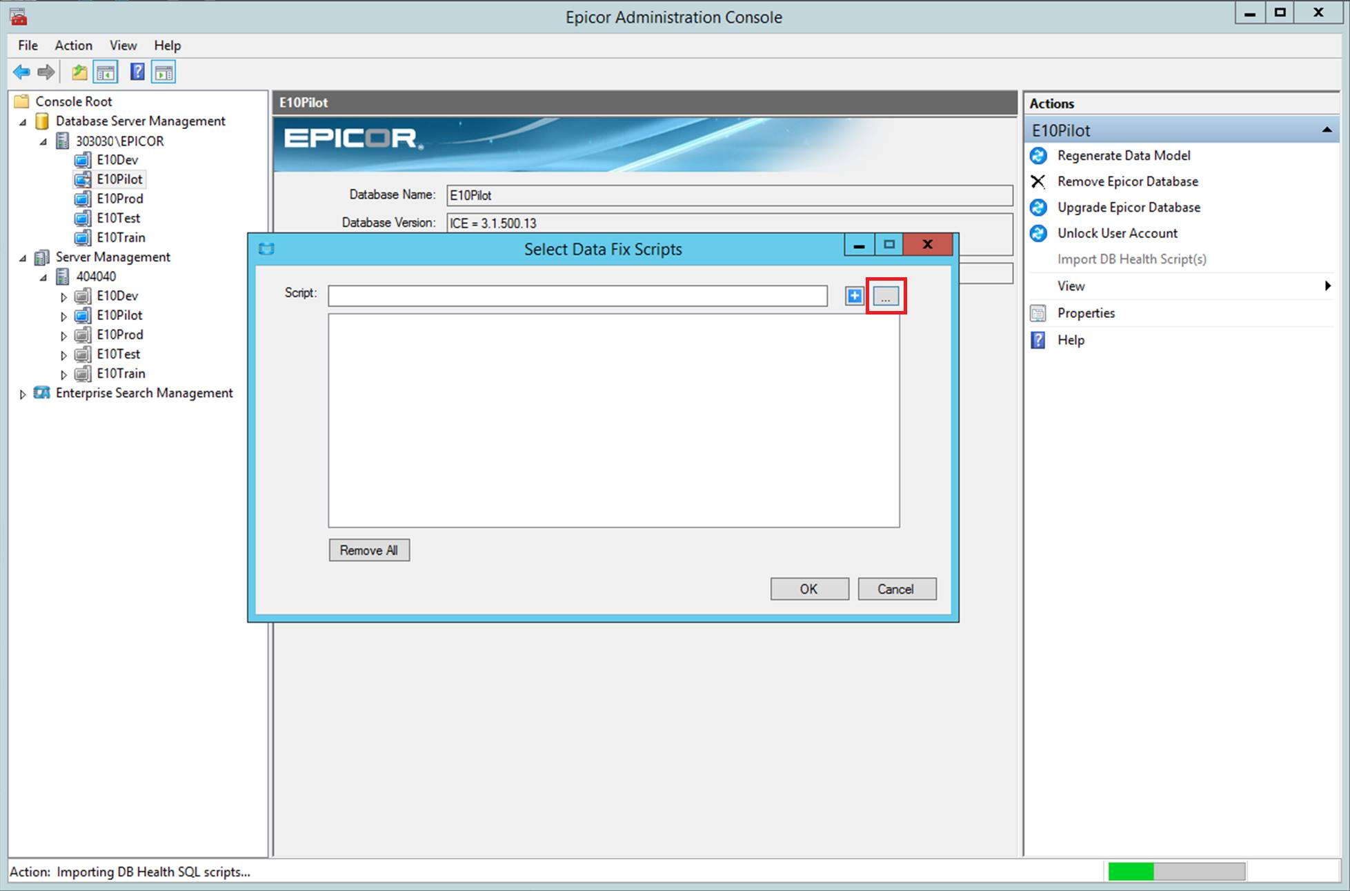 Epicor Data Fix Screenshot Select Scripts