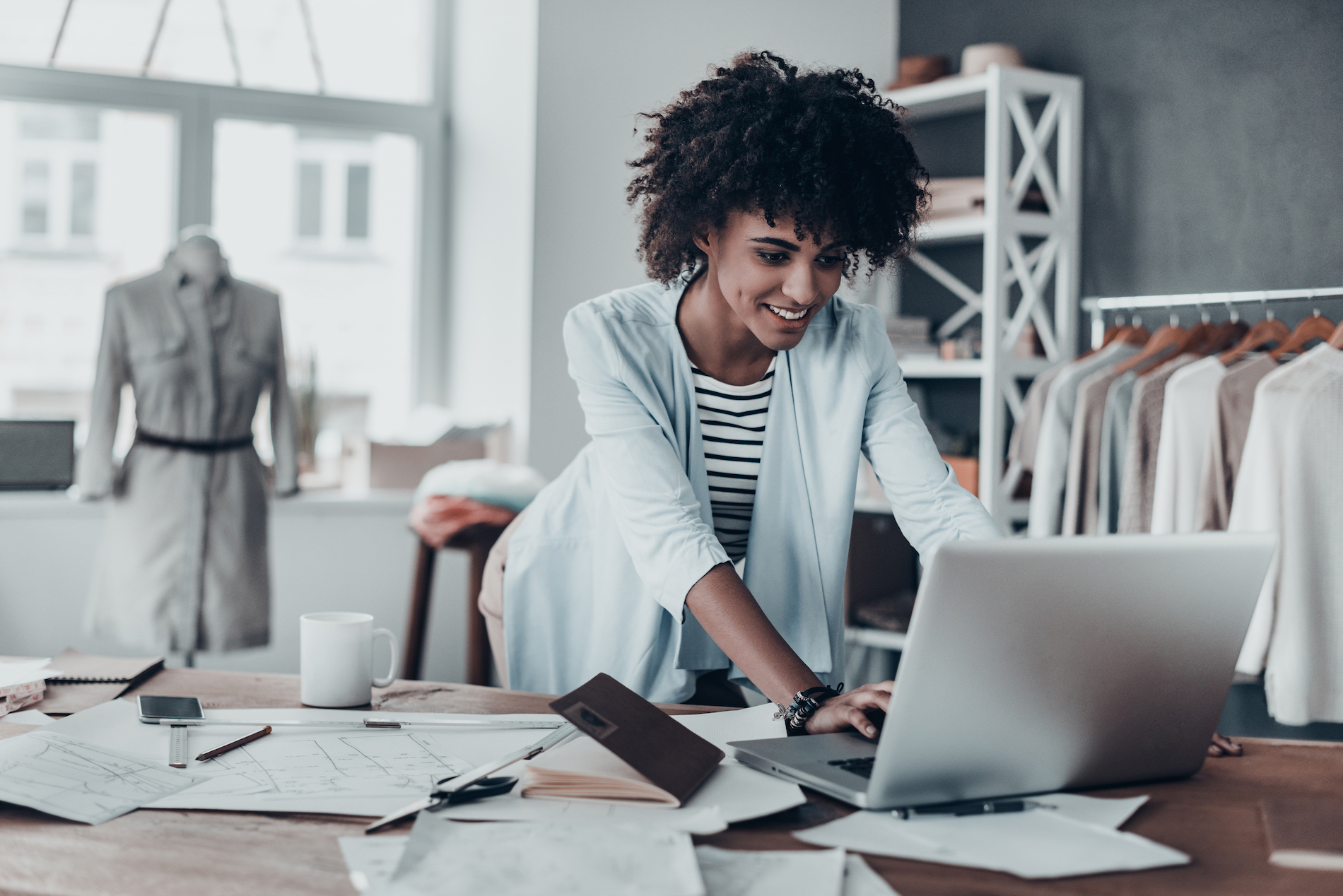 Small business IT solutions protecting a female small business owner