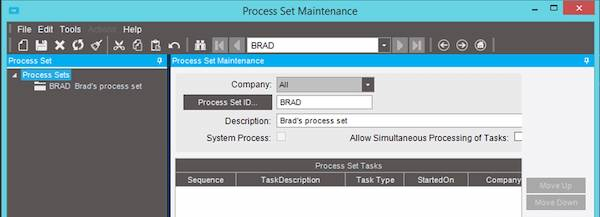 Epicor Process Set Maintenance Screen